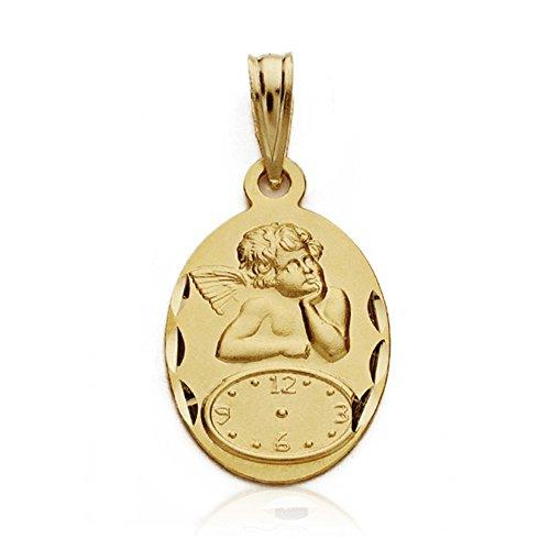 18k Goldmedaille Cherub 19mm Uhr. Baby Geburtsstunde [AA7422GR] - kundengerecht - AUFNAHME IN PREIS ENTHALTEN -