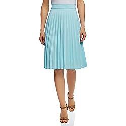 oodji Collection Mujer Falda Plisada por la Rodilla, Azul, ES 46 / XXL