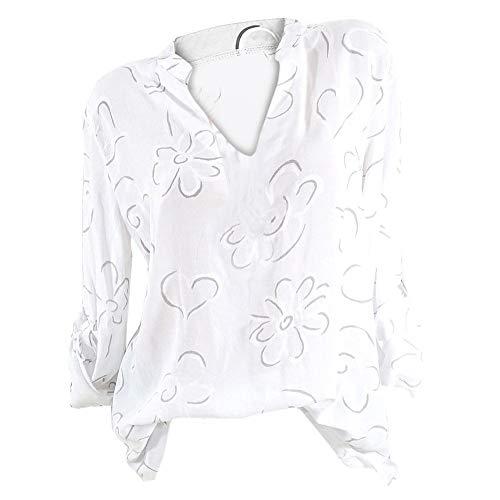 Bluelucon Bluse Blumendruck Damen Hemd Oberteile V-Ausschnitt Lose Casual Chiffon Langarm T-Shirt Top Tunika Elegant Langarmshirt Plus Größe