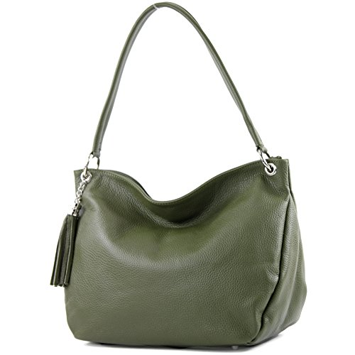 modamoda de - T154 - ital Schulter-/Umhängetasche aus Leder, Farbe:Olive -