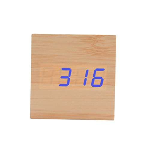 Fenteer Digital LED Würfelwecker Alarmwecker Wooden Holz Kalender Thermometer Uhr Clock - Natur + Blau