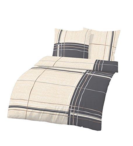 Renforce-Bettwäsche-Set von ido| Qualitätsbettbezug aus 100% Baumwolle, Deckenbezug 155x220 cm, Kissenbezug-80x80 Bettbezug | creme grau