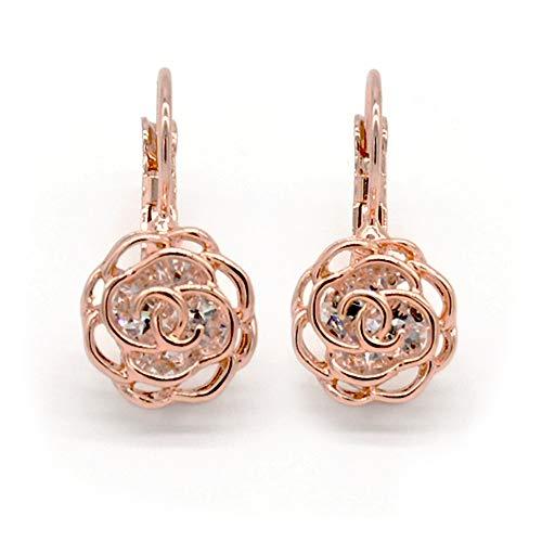 Mimei Ohrringe 18k Gold plattiert Kristall, Blume Rose Geschenke für Mutter / Frauen / Mädchen, ideale Geschenke für Party (Ohrringe Gold 18k)