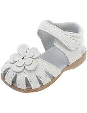 Oderola Mädchen Sommer Sandale mit weichen Sohlen Baby Leder Lauflernschuhe
