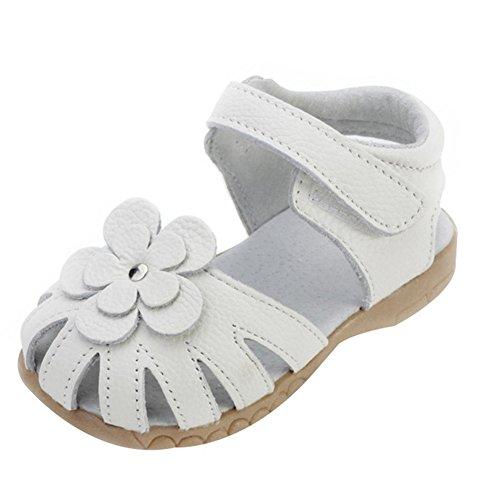 Oderola Mädchen Sommer Sandale mit weichen Sohlen Baby Leder Lauflernschuhe- Weiß, EU 25 Innenlänge 15cm (Weiche Baby-schuhe Leder)