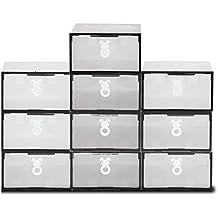 Cajas de zapatos, ISWEES 10 cajas de almacenaje plegable de plástico Cajón Organizador envase de la caja Estanter de Zapatos Multifuncional 30 x 20 x 11 cm,Transparente (Blanco + negro)
