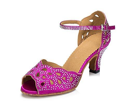 Honeystore Neuheiten Frauen's Satin Strass Heels Absatzschuhe Moderne Latein-Schuhe mit Knöchelriemen Tanzschuhe LD065 Fuchsie 42 CN