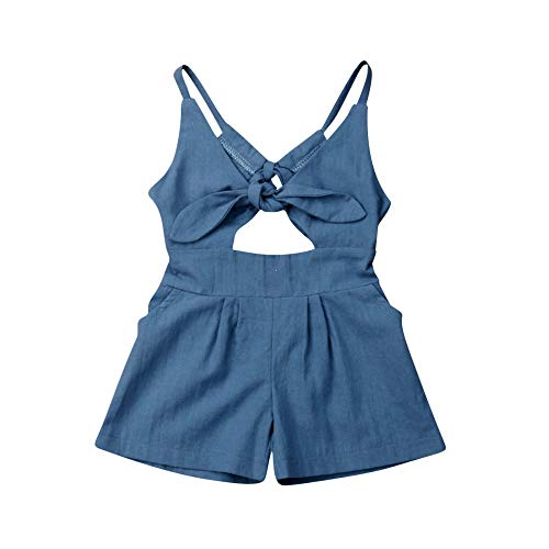 Dad Rocks Kids T-shirt (DIASTR Outfit Baby Mädchen Schulterfrei Lotusblatt Kragen Kurze Tops Rock Strap Artifical Denim Romper Jumpsuit Summer(6m-4y))