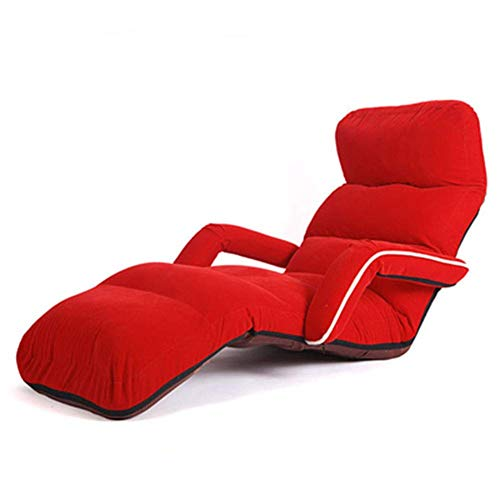 TX Single Faul Couch Mit Armlehnen/Tatami-Boden/Sessel Lounge Chair/Beinlose Erkerliege/Faltbare Liege,red