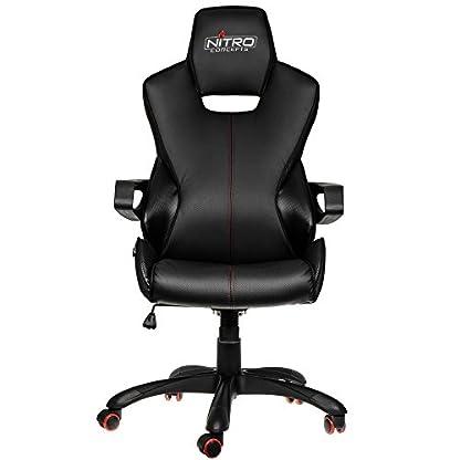 Nitro Concepts E200 Race Asiento Acolchado Respaldo Acolchado – Silla (Asiento Acolchado, Respaldo Acolchado, Negro, Carbono, Negro, Carbono, Imitación Piel, Imitación Piel)