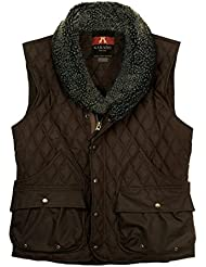 Kakadu Traders Quilted Chaleco de algodón impermeable Tasmanian Vest, hombre, color marrón, tamaño extra-small