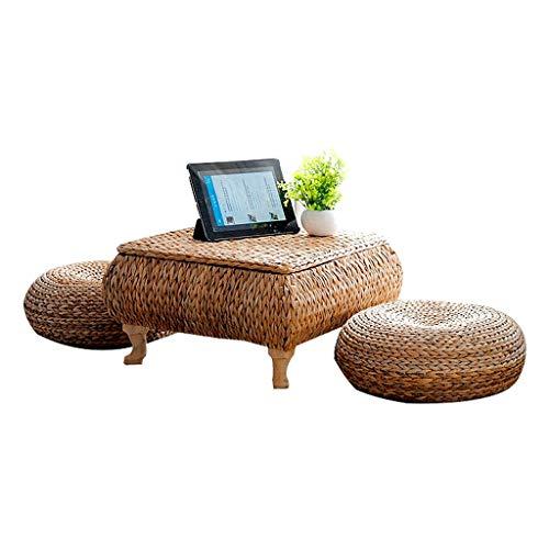 Weq Kleiner Tisch Couchtisch Stroh Kleiner Tee Tisch Schlafzimmer Kleiner Esstisch Einfache Bambus und Rattan Tabelle Tatami Plattform Niedrige Tabelle Bananenrebe Computertisch - Schlafzimmer-rattan-tisch