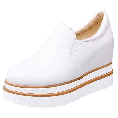 COOLCEPT Femmes Mode Slip On Court Shoes Bout Ferme Escarpins Augmentation Chaussures Blanc