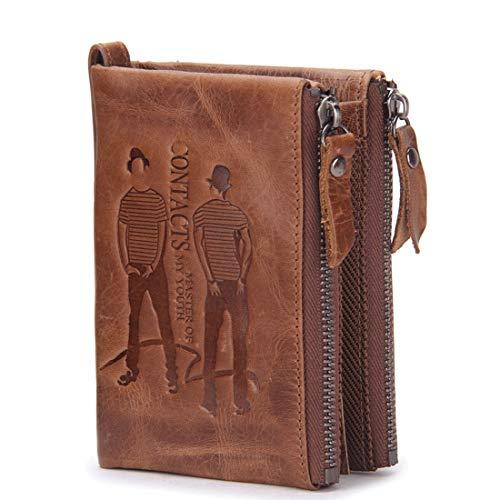 Wennew Leder Curt Fooling Double Zipper Geldbörse Mad Cow Leather Herren Geldbörse (Farbe : Braun) Mad Cow
