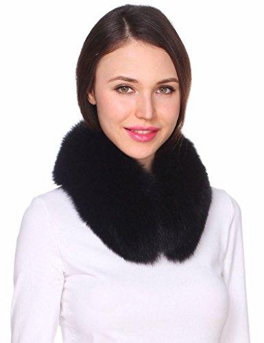 Ferand collo di pelliccia di volpe autentica per donna nero