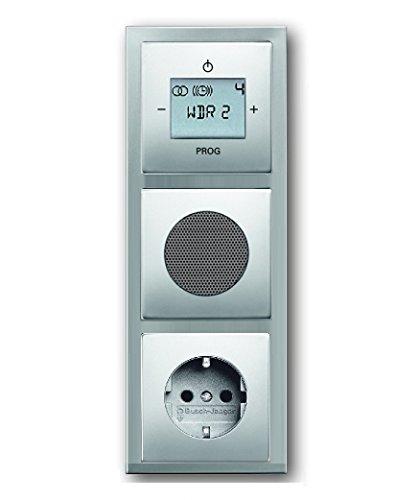 Preisvergleich Produktbild Busch Jäger Unterputz UP Digitalradio 8215 U (8215U) Edelstahl Komplett-Set pur Edelstahl Lautsprecher + 20EUC-866 Steckdose + Radioeinheit in 3 fach Rahmen integriert