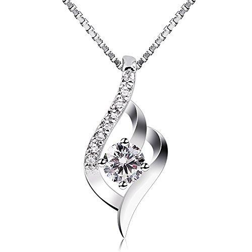 B.Catcher Femme Collier en Argent 925, Pendentif diamanté,...