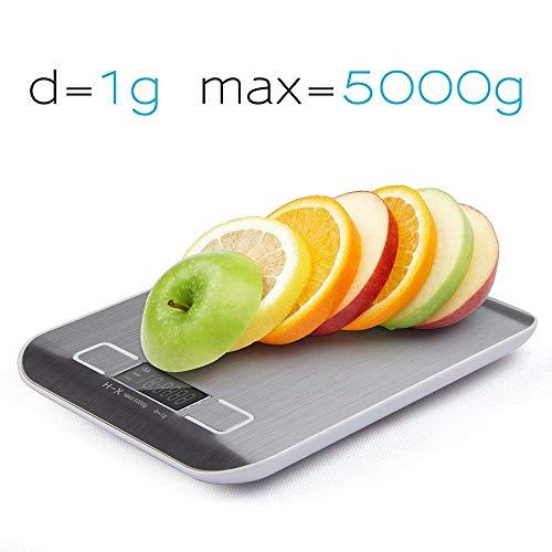 Báscula de cocina multifuncional, con un peso máximo de 5 kg, con pantalla LCD, seguimiento automático de cero, cierre automático