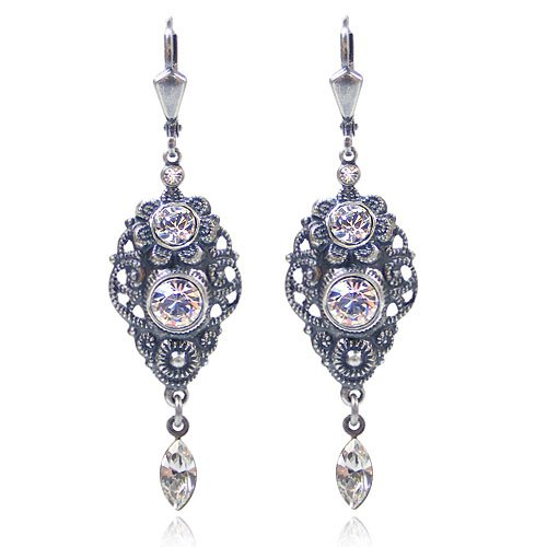 Jugendstil Ohrringe mit Kristallen von Swarovski Silber Ohrhänger NOBEL SCHMUCK