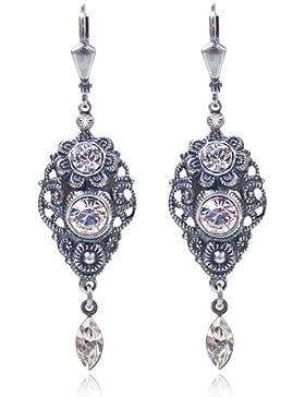 Jugendstil Ohrringe mit Kristallen von Swarovski® Silber Crystal - NOBEL SCHMUCK