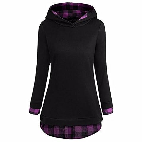 Women Warm Sweatshirt Jimmkey Long Sleeve Top Long Tops For Women Round Neck Shirt O Neck Tops Plaid Hoodies Casual Patchwork Blouse Comfort Tops (M,