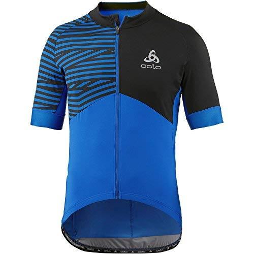Odlo Stand Collar S/S Full Zip Trikot Umbrail CER, Herren L blau/schwarz (Energy Blue/Black) Full Zip Stand