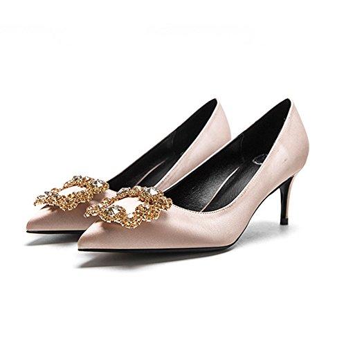 YIXINY Escarpin F338-4 Chaussures Simples Femme Soie + PU Faux Diamant Amende Talon Pointu La Bouche Peu Profonde Mariage Talons Hauts Couleur Champagne