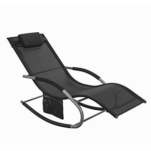 Sobuy® ogs28-sch, poltrona dondolo, sdraio relax, sedia a sdraio, con taschina, nero,