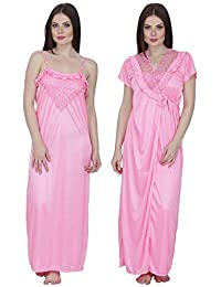 Secret Wish Women s Satin Nighty with Robe Satin Nighty Nightwear Multicolor  Nighty HC- e9ac88f1e