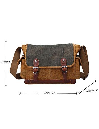 Menschwear canvas Unisex Cross-body Tasche Outdoor Casual Tasche Grau Braun