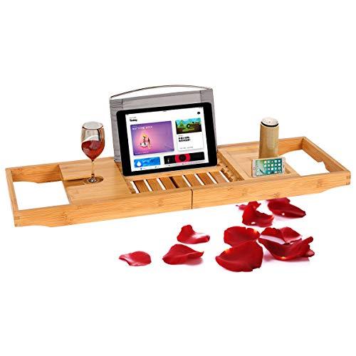Feenice Badewanne ablage aus Bambus Verstellbare Badewannenbretter Badewanne Tablett mit Telefonhalter, Weinglashalter, Getränkehalter, Buchhalter, Seifenhalter - Holz