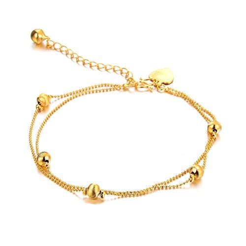 Oneworld - Cavigliera da donna placcata oro da 18kt con campanellini, anallergica, non perde il colore e Placcato oro, colore: K7-Z26, cod. ONEWORLD