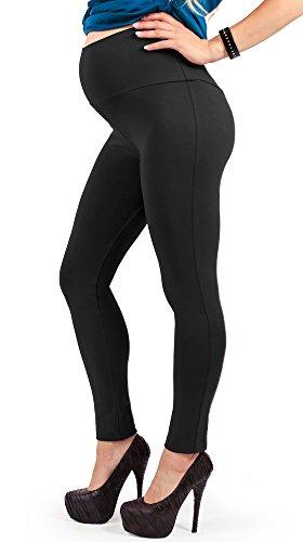 Leggings premaman, morbido cotone elasticizzato e coprente, ottima vestibilità - made in italy (nero 46 it)