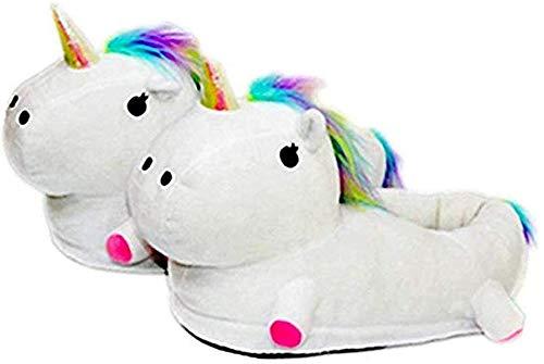 Autunno Inverno Pantofole Peluche Ciabatte Unicorni Animali Cosplay Halloween Costume Scarpe (Bambino 25-33 EU, Bianco)
