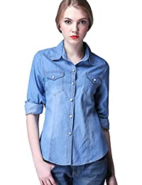 Suchergebnis auf f r jeanshemd damen hellblau bekleidung - Jeanshemd lang damen ...