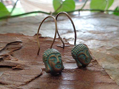 ★ PATINA BRONZE BUDDHA ★ Ohrringe an langen Haken, Meditation, Buddhismus, Yoga