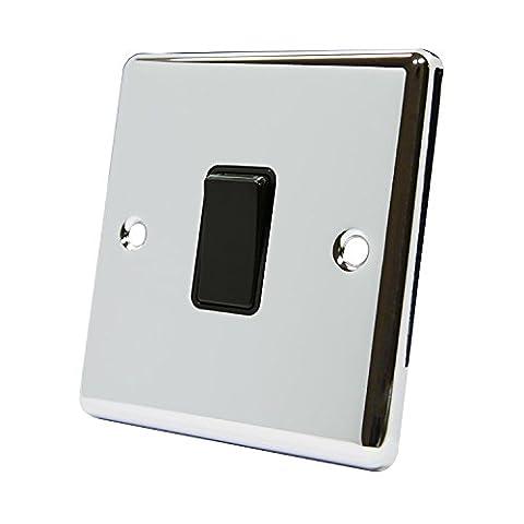 Deta Decorative Commutateur 1 bouton en chrome noir 20A