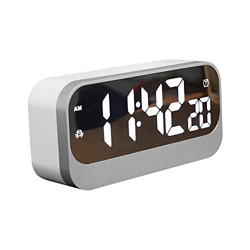 ASTOTSELL LED Digital Alarm Clock - Espejo HD LED Reloj con 3 Grados de Nivel de Brillo y 3 Modos de Alarma (5 días, 6 días, 7 días) para el Dormitorio, la Oficina, los Viajes