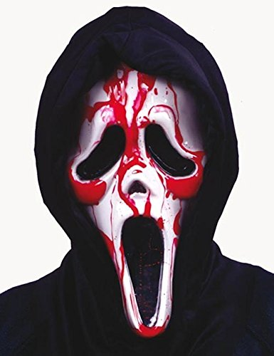 Original Scream Halloween Maske Ghostface blutend schwarz weiss (Kostüm Blutende Scream)