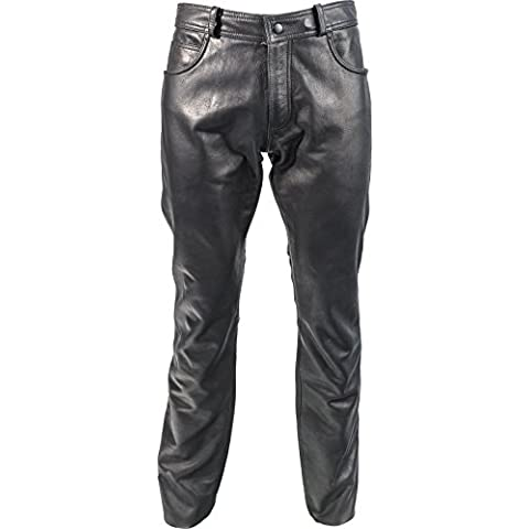 Richa classica in pelle moto pantaloni, Black, 44
