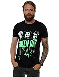Green Day Men's Band Drip T-Shirt Large Black