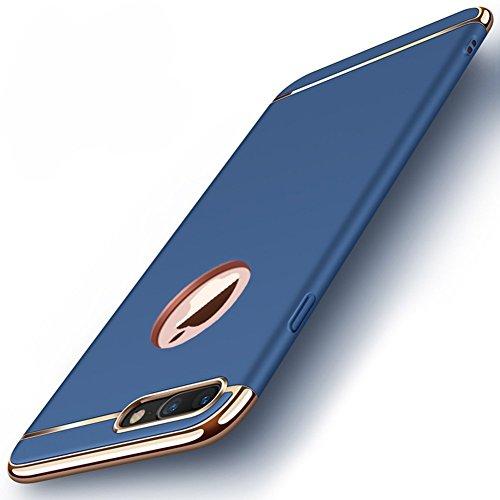 iPhone 8 Plus Hülle Case, 3-Teilige Extra Dünn Hart Slim Thin Hard Case Cover Hochwertig Schutzhülle Schale Handy Hülle für Apple iPhone 8 Plus [3 in 1 Apple Logo sichtbar] (iPhone 8 Plus, Blau)