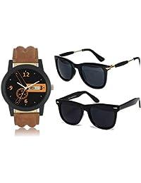 Sheomy Set of 2 Wayfarer Unisex Sunglasses - (3IN1-00110, Black)