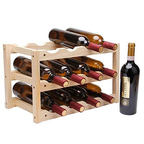 Bambus Weinregal aus Holz für 12 Flaschen Wein | Optimal zur Lagerung von Weinflaschen | Weinhalter | Flaschenregal | Flaschenständer | Weinständer | Weinflaschenhalter | platzsparend klein,46*24*28cm