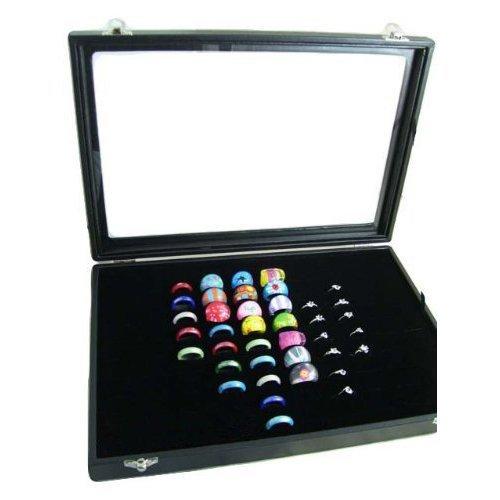 Ringbox Leder Ringständer für 100 Ringe I Mit Sichtfenster I Schmucklade Ringdisplay für Aufbewahrung und Präsentation vom Schmuck Ringlade