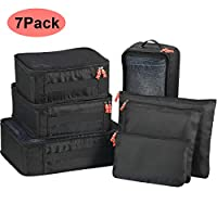 Avoalre Travel Packing Cubes 7 Packs Luggage Organizer Storage Bags Compression Pouches - Black