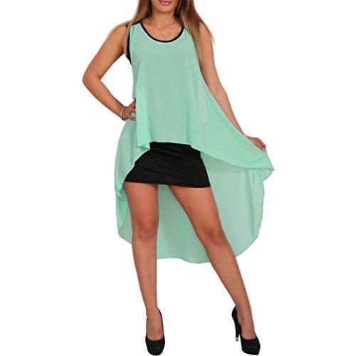 Chiffon Neon Kleid Vokuhila Cocktailkleid Party Strand Sommer Volant Minikleid Mint
