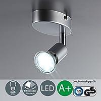 B.K. Licht faretto LED a soffitto orientabile I plafoniera a soffitto e parete per l'illuminazione da interno I corpo metallo, color titanio I incl. lampadina da 3W I 230V I GU10 I IP20
