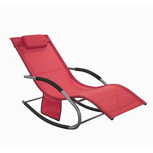 SoBuy® Swingliege Schaukelliege Sonnenliege Liegestuhl Gartenliege mit Tasche Gewebe in rot OGS28-R