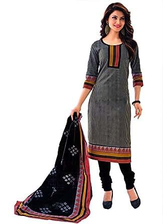 Miraan Women's Cotton Dress Material (SG505_Black_One Size)